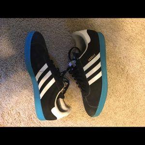 Adidas gazelle black with blue sole size 13